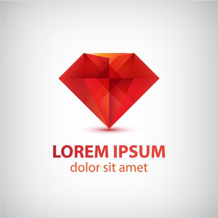 벡터 빨간색 3d 다이아몬드 아이콘, 고립 된 로고