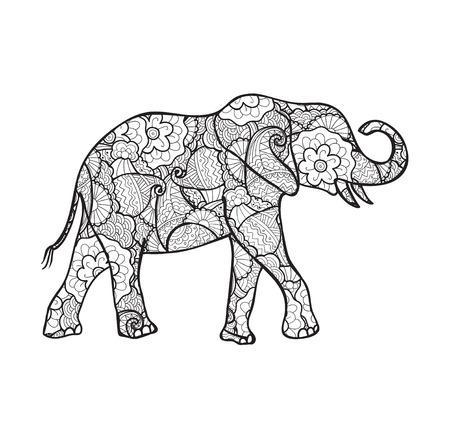 siluetas de elefantes: vector silueta de elefante decorado con el modelo abstracto