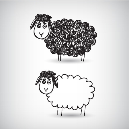 vector hand drawn doodle cartoon sheep isolated Illustration