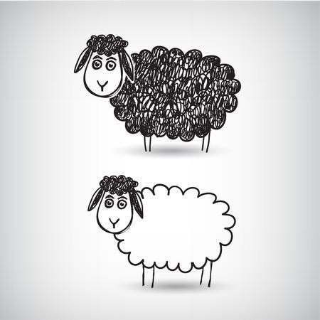 flock of sheep: vector hand drawn doodle cartoon sheep isolated Illustration