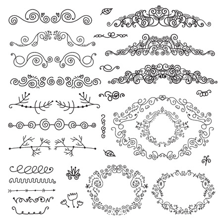 vector floral decor set of hand drawn vintage doodle frames, dividers, borders, elements. Isolated Vector
