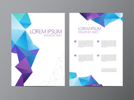 brochure template: Abstract vector modern flyer brochure design templates with geometric triangular background