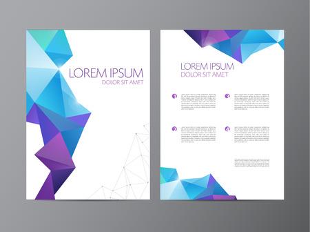 poligonos: Resumen de vectores modernos plantillas de dise�o folleto aviador con el fondo geom�trico triangular