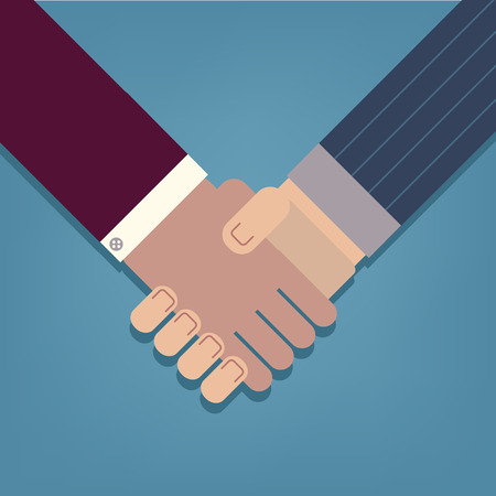 Businessman handshake icon vector illustration, modern, flat and trendy business and office icon Vector
