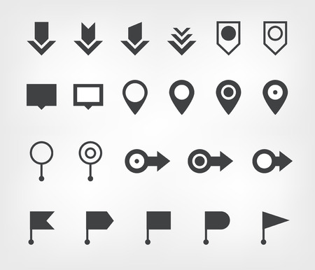 navigation icons: set of navigation icons, flags and arrows Illustration