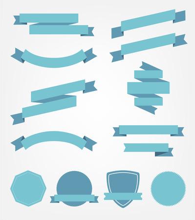 the banner: aislado vector conjunto de azules vacías retro cintas, banderas e insignias Vectores