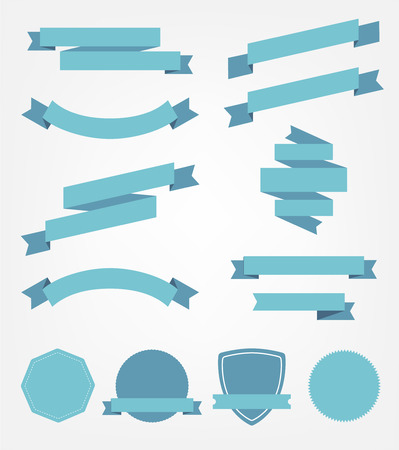 ribbon: vector set of blue empty retro ribbons, banners and badges isolated