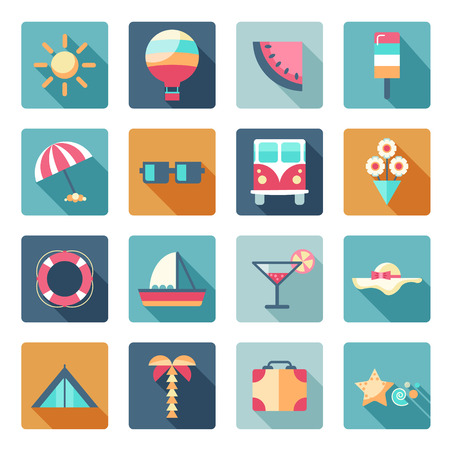 watermelon boat: vector set of summer, traveling icons with shadows. Flat modern style, can use it for web, phone. Traveling on air balloon, planning a summer vacation, tourism and journey objects, passenger luggage. Illustration
