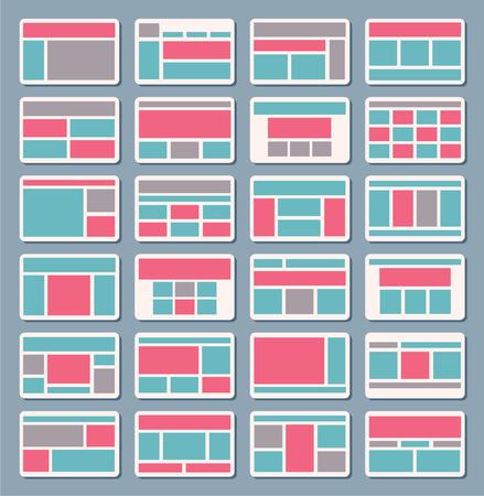prototipo: Conjunto de vector de mapa de sitio para crear la navegación diagrama de flujo de arquitectura, estructura, plantillas Vectores