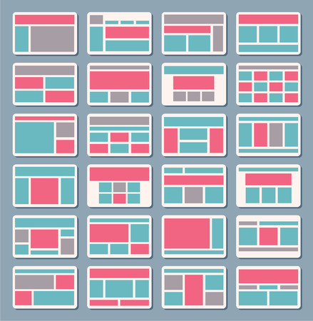 Set of vector sitemap for creating flowchart navigation of architecture, structure, templates Vector