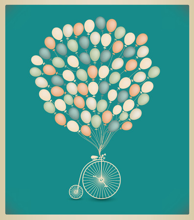 vector vintage greeting card design, birthday, wedding invitation. Retro bicycle with balloons