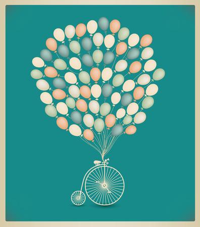vector vintage wenskaart ontwerp, verjaardag, bruiloft uitnodiging. Retro fiets met ballonnen