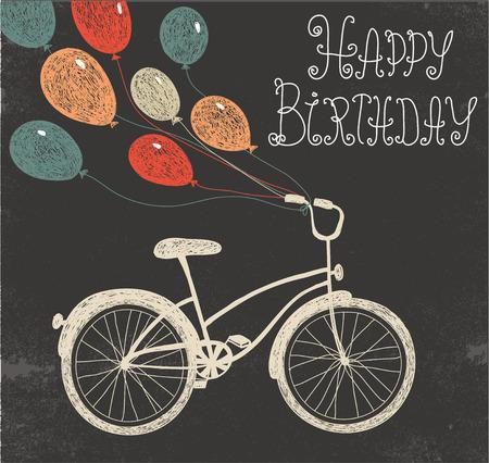 vintage lady: vector retro hand getekende schoolbord verjaardagskaart met fiets en ballonnen