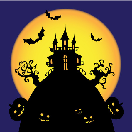 scarry: vector halloween castle card, illustration, scarry pumpkins