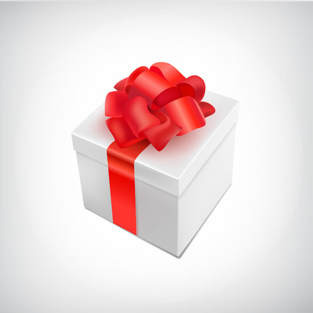 present box: vector realistic 3d present box with bow tie isolated