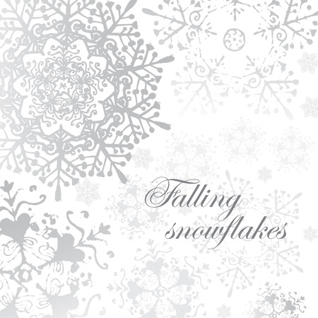 winter vector: vector winter grey snowflakes christmas pattern for card. Winter vintage background, snow brochure, web, decoration