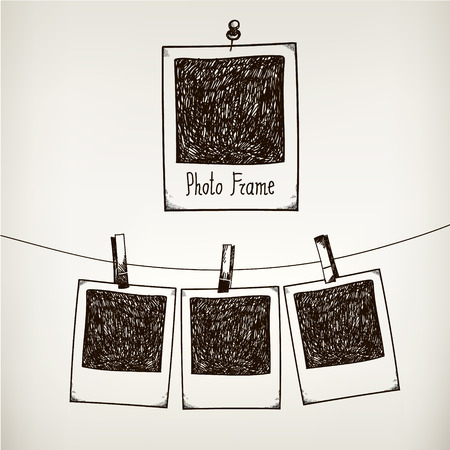Vector hand drawn doodle illustration of retro photo frame. Hanging photos in a photo studio. 일러스트