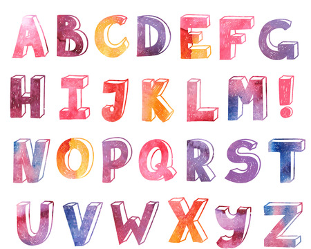 vector colorful watercolor hand drawn alphabet, font, letters