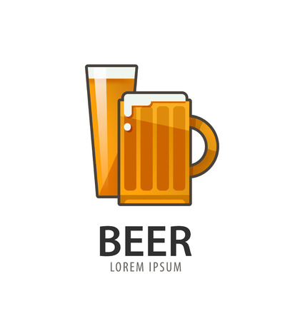 alchoholic drink: Original badge icon design, icon template for beer house, bar, pub, brewing company, brewery, tavern, taproom, alehouse, beerhouse, dramshop, restaurant Illustration
