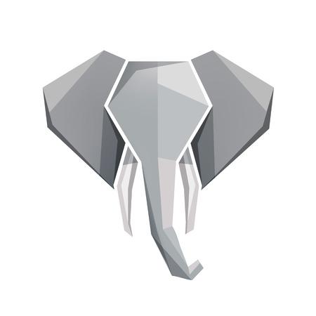 elephant: vector origami elephant head icon. Illustration