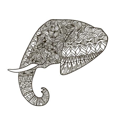 tusks: Vector hand drawn tribal ornate decorated elephant illustration, icon