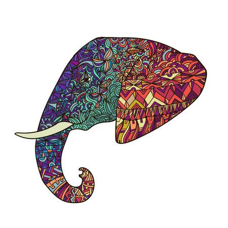siluetas de elefantes: Vector dibujado a mano ilustración adornado elefante decorado tribal, icono