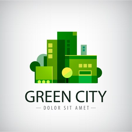 eco green: vector green city, buildings, eco icon.
