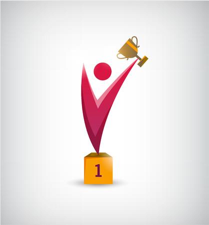LIDER: vector ganador abstracta, el hombre l�der, persona icono.