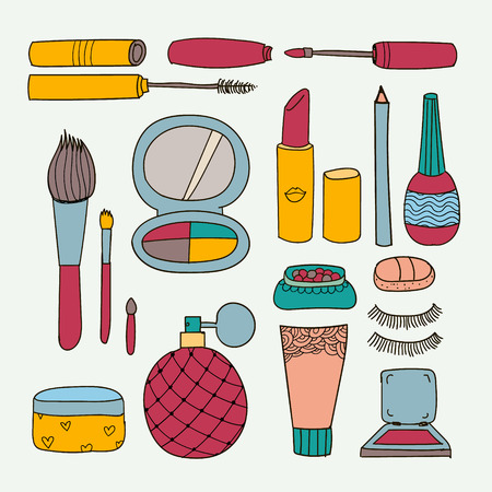 makeup brush: Vector set of hand drawn doodle make up tools, cosmetics illustration