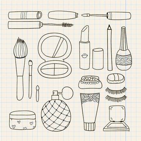 lipstick brush: Vector set of hand drawn doodle make up tools, cosmetics illustration