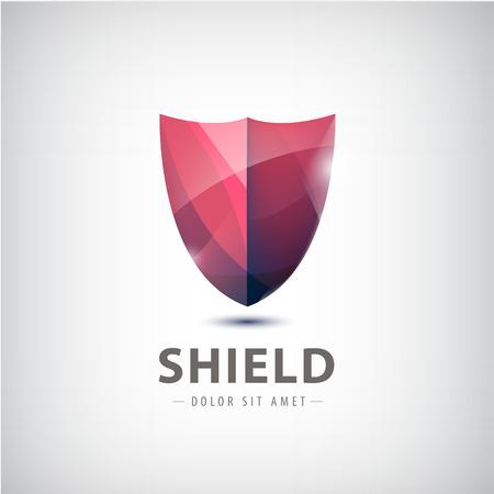 vector red shiny shield icon.