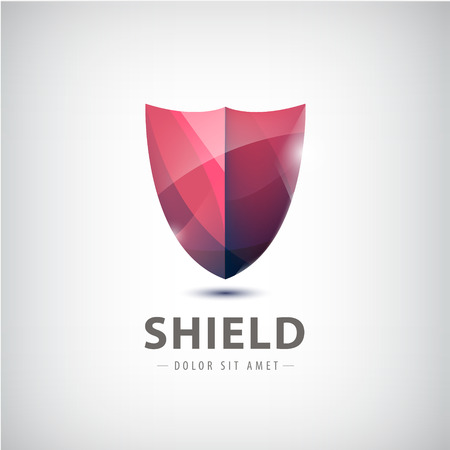 identity protection: vector red shiny shield icon.