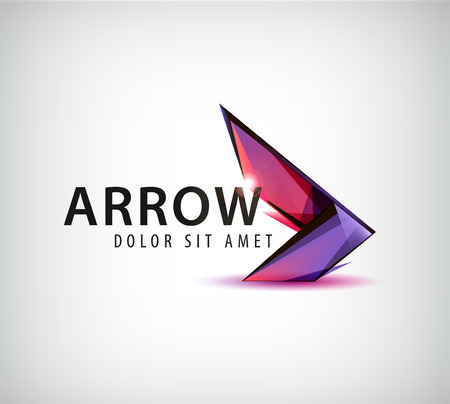 arrow button: vector abstract colorful arrow logo, icon isolated Illustration
