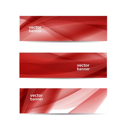 ベクトル抽象的な波状の赤い旗のセット