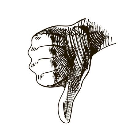 vector hand drawn dislike, finger down graphic illustration