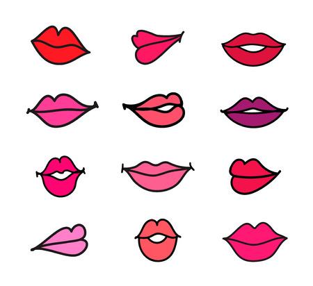 vector set of illustration cartoon feminine lips on white background Vector