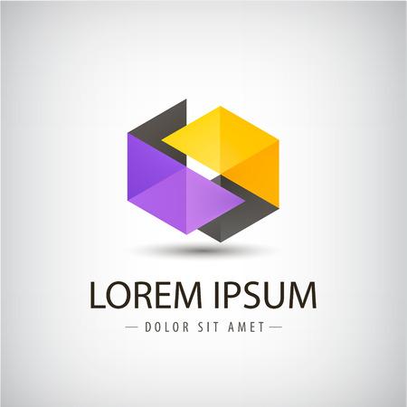 ベクトル抽象的な折り紙リボン アイコン、ロゴの分離