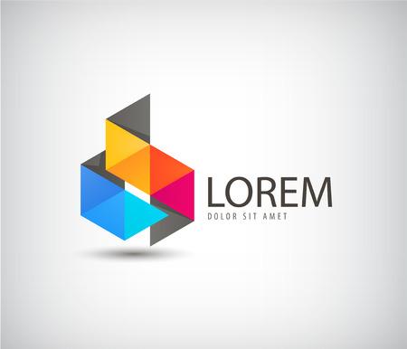 logos de empresas: Resumen de vectores icono de origami cinta de color, logotipo aislado