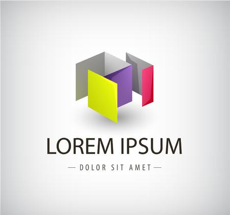 objetos cuadrados: Resumen de vectores estructura geométrica colorido, 3d forma, logotipo aislado