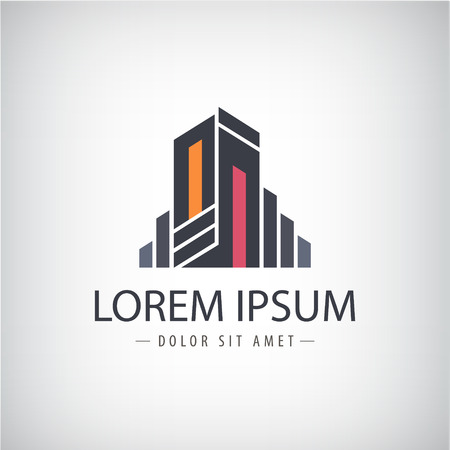 벡터 추상 라인 리본 현대적인 아이콘, 고립 된 로고 건물 실루엣 스톡 콘텐츠 - 38470633