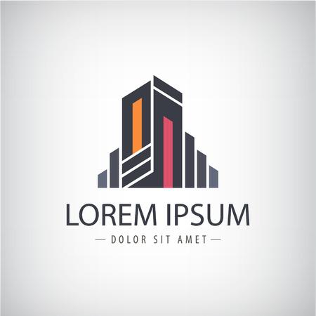 logo batiment: vecteur ruban de ligne abstraite icône moderne, de construction logo silhouette isolée