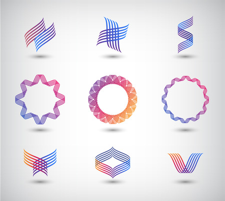 blue spiral: vector set of abstract line logos, icons isolated Illustration
