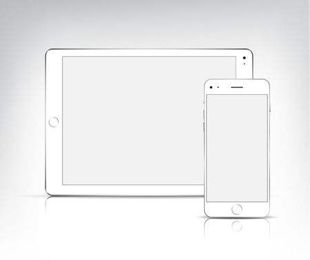 vector white tablet pc and phone isolated  イラスト・ベクター素材