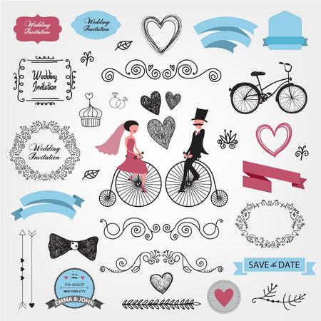 date: set of vector vintage wedding invitation design elements