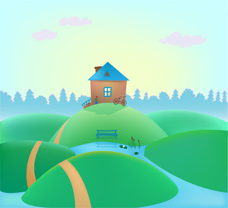 cute house: vector small cute house on the hills, summer landscape, nature background Illustration