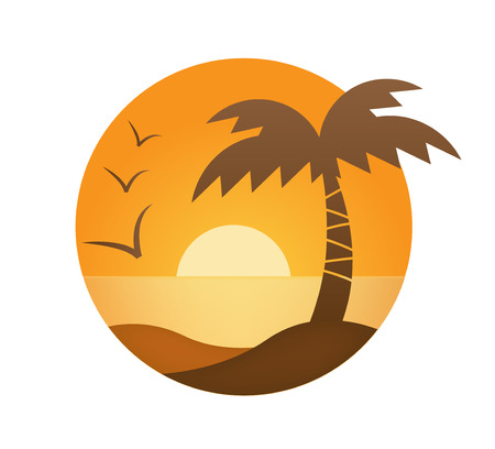 vector oranje zonsondergang, palm, zee in de cirkel Stock Illustratie