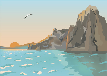 vector landscape background, morning sea with rocks, summer