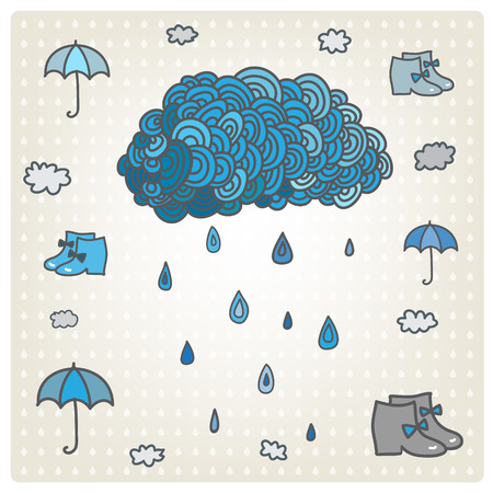 Vector stylizes drawn blue cloud with rain. Bad weather set. Weather backdrop. Autumn template.