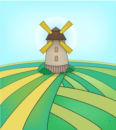 dutch culture: vector mill illustration on the green field, agriculture