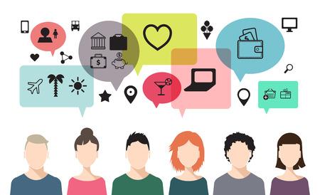 social net: vector banner of speaking people, chat, teem work, social net
